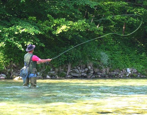 Fly fishing on a river, casting