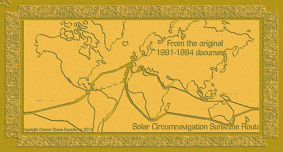 Solar archaeology world map from 1991 circumnavigation sunshine routes