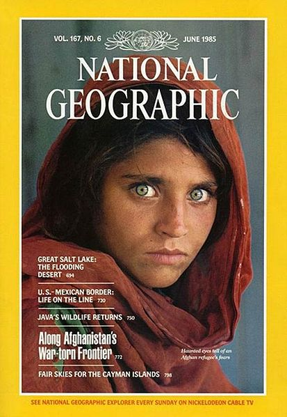 National Geographic Magazine, Shabat Gula, the Afghan Girl refugee, mona lisa