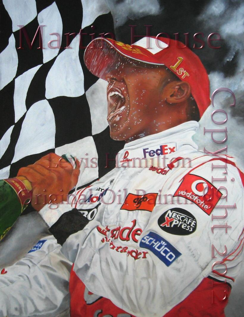 Lewis Hamilton, original oil painting by Martin House