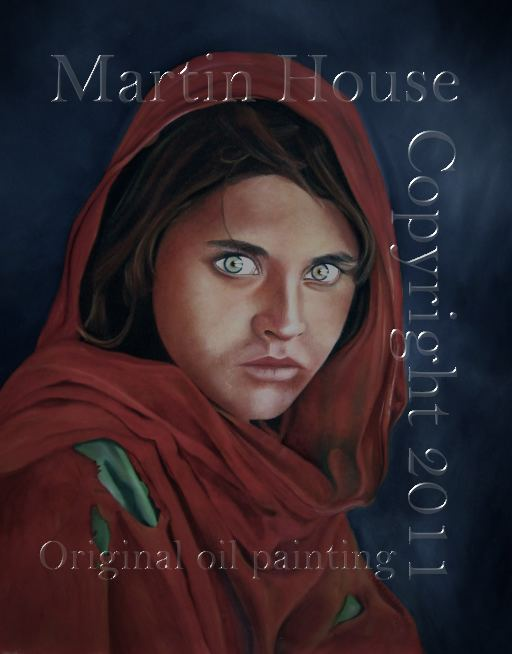 Sharbat Gula, Afghan Girl, Mona Lisa, oil painting by Martin House