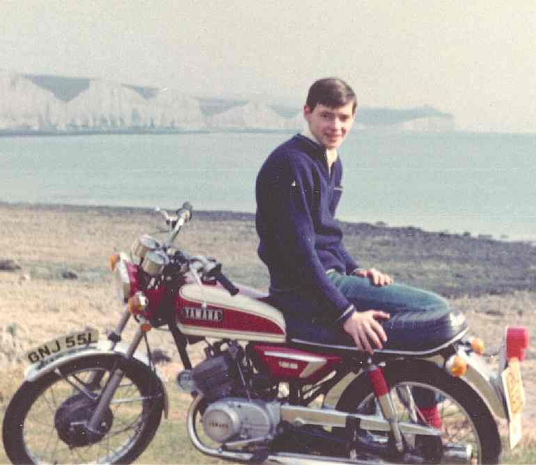 Nelson with his first motorcycle at Seaford Head, Sussex, England