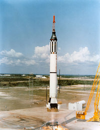 May 5, 1961 launch of Redstone rocket and NASA's Mercury 3 capsule Freedom 7 with Alan Shepard Jr. on the United States' first human flight into sub-orbital space. (Atlas rockets were used to launch Mercury's orbital missions.)