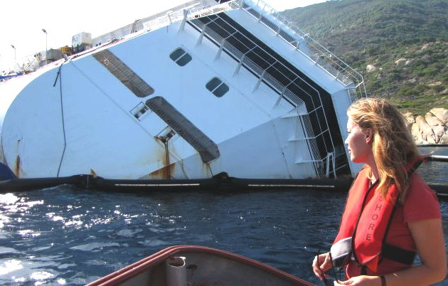 Andrea Vogt, producing a documentary on the sinkiing of the Costa Concordia