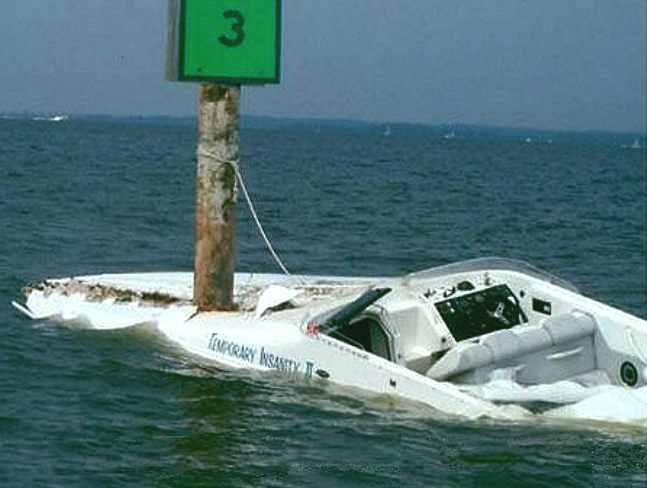 Power boat crashed into concrete post, total loss insurance
