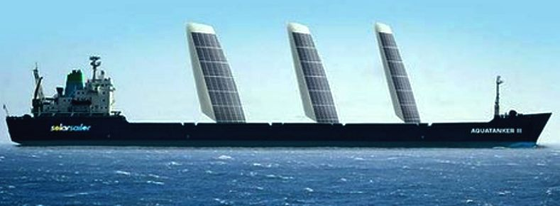Cargo ship fitted with solar wing sails to reduce fuel consumption