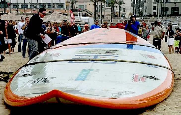 The world's largest surfing board, a Guinness World Record