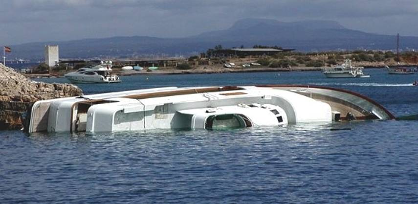 Luxury yacht capsized, insurance total loss cover