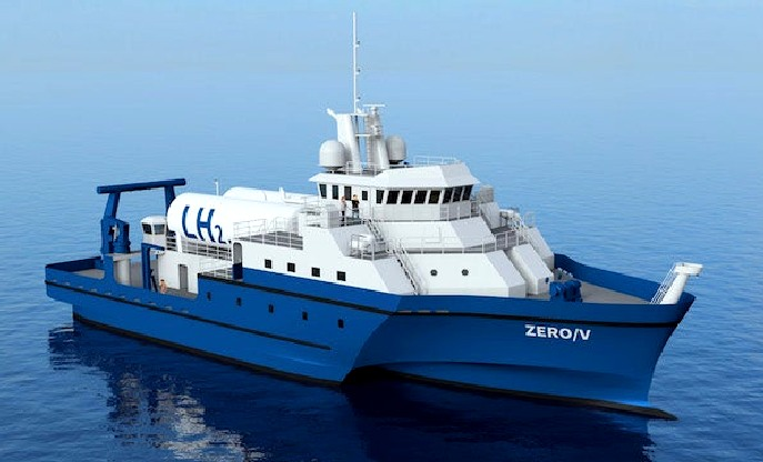Zero carbon hydrogen fuel cell ferry