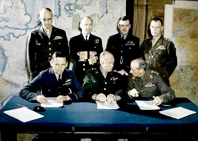 Air Chief Marshal Arthur Tedder; General Dwight D. Eisenhower; General Bernard Montgomery; Lieutenant General Omar Bradley; Admiral Bertram Ramsay; Air Chief Marshal Trafford Leigh-Mallory; Lieutenant General Walter Bedell Smith