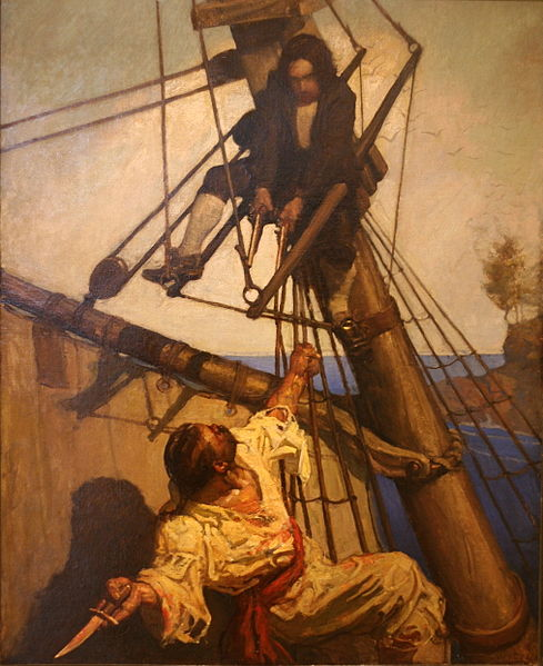 One More Step, Mr. Hands by N. C. Wyeth, 1911, for Treasure Island by Robert Louis Stevenson