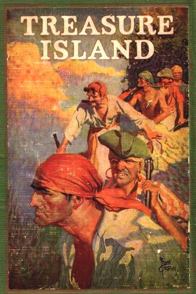 Treasure Island - illustrated book cover by Robert Louis Stevenson