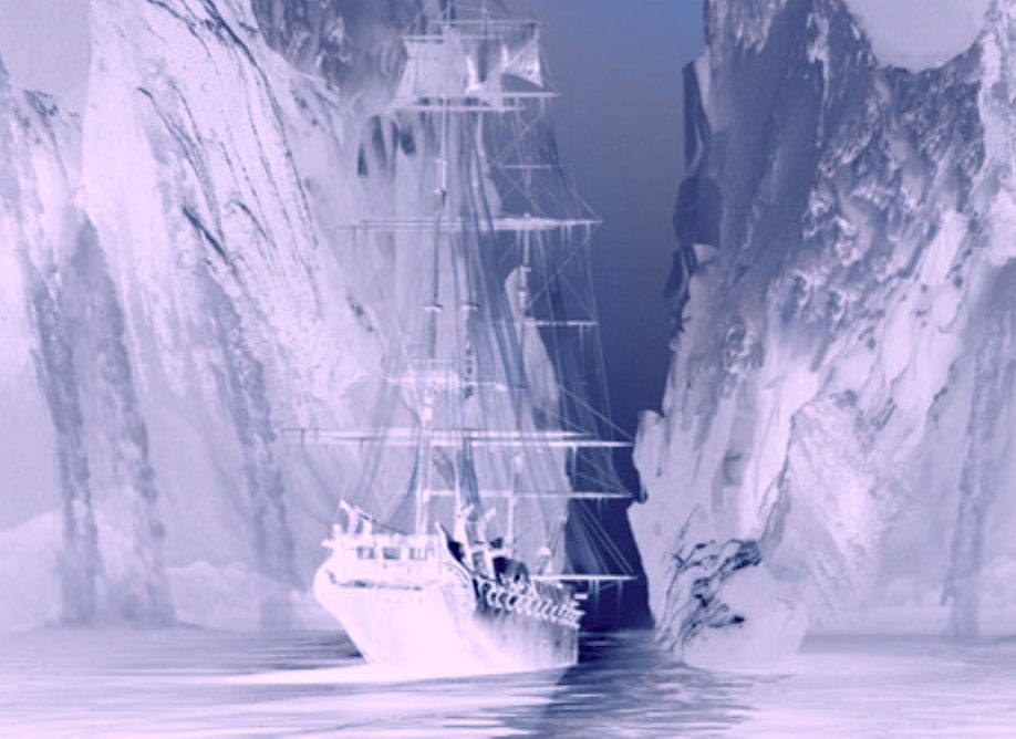 US Enterprise trapped in Antarctic ice in 1838, ghost ship. Sectasaur a Jameson Hunter book