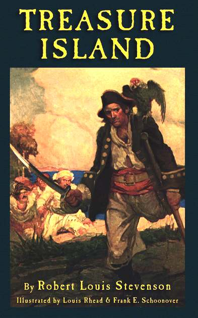 Treasure Island book cover illustration by Louis Rhead and Frank Schoonover