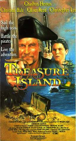Treasure Island film poster, Charlton Heston and Christian Bale