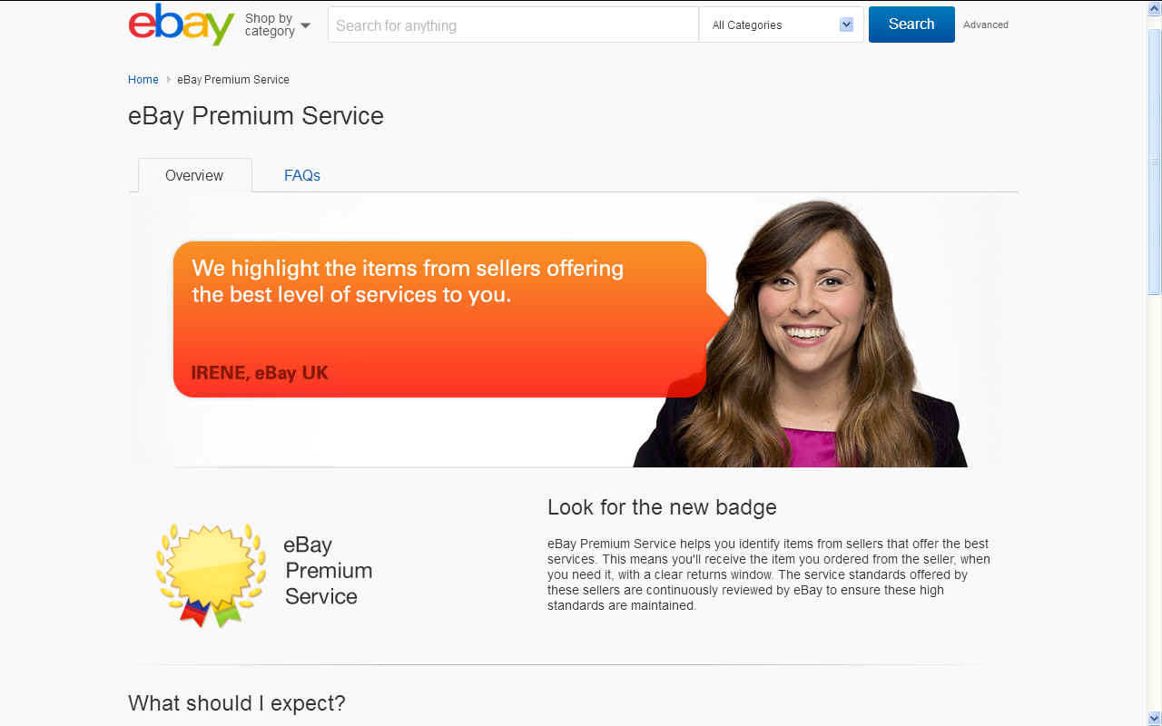 Ebay premium services gold star award to top internet sales performers