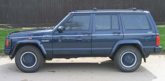 Classic Jeep Cherokee in metalic blue paint