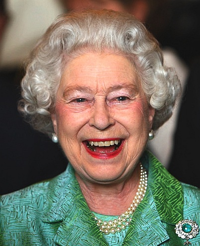 The Queen happy during a reception at Windsor castle