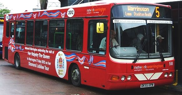 A public bus in Warrington in a special livery for the Diamond Jubilee