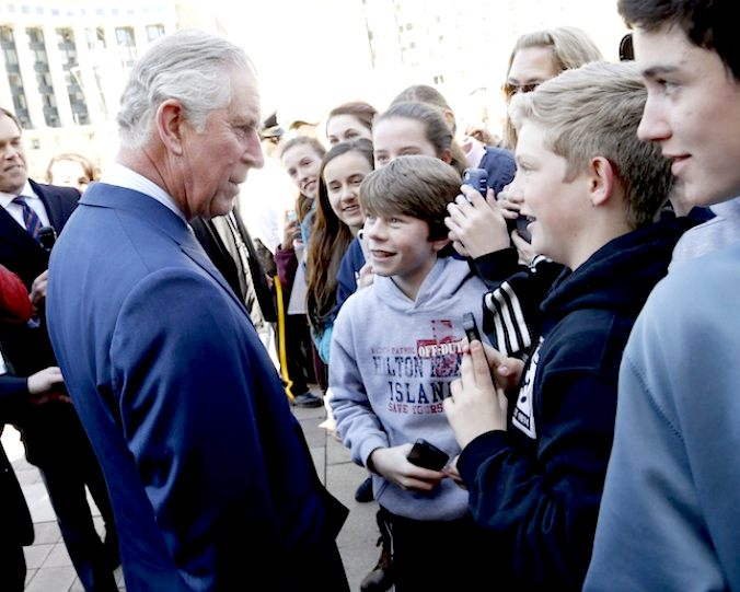 The future king of England speaks to children on the streets of Washington DC