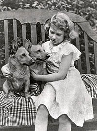 Princess Elizabeth with pet Corgis