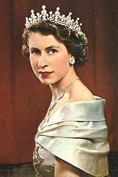 The Queen radiant in her tiara and pearls