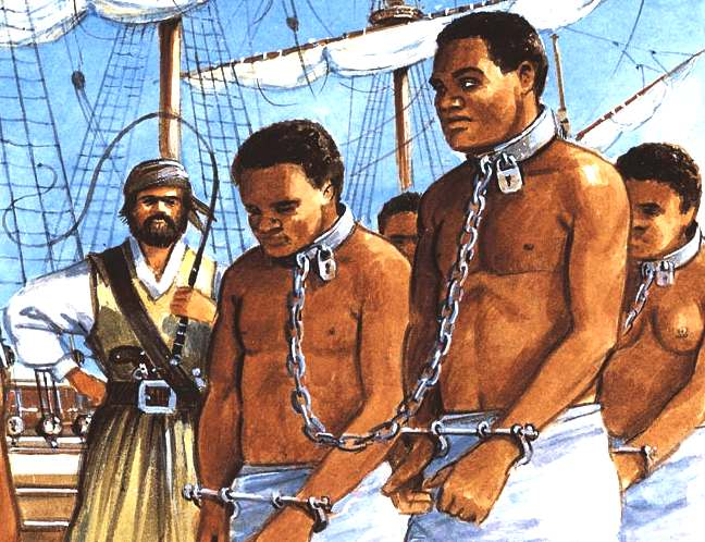 Painting of slaves in chains being loaded onto a slave ship