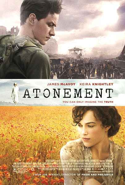 Movie poster for Atonement, starring James McAvoy and Keira Knightley