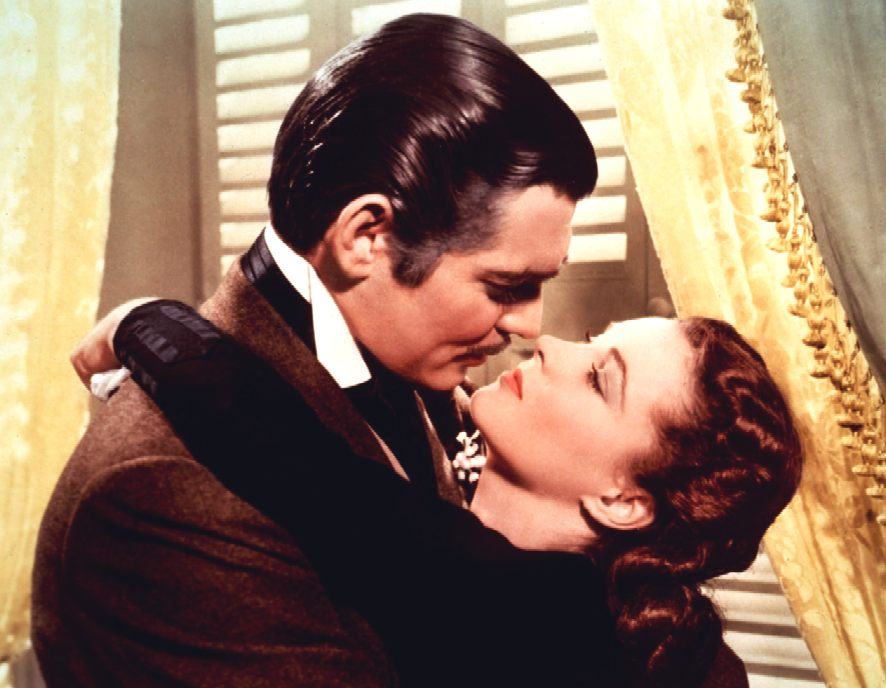 Clark Gable as Rhet Butler and Vivien Leigh as Scarlet O'hara