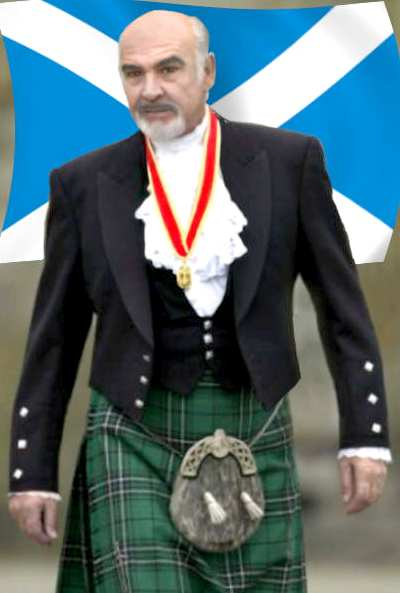 Sir Sean Connery dressed in a Scottish kilt