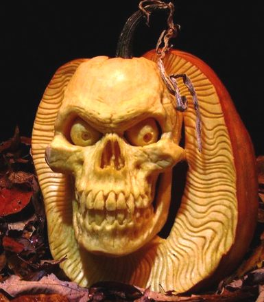 Human Skull, Halloween pumpkin carving by Ray Villafane