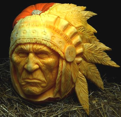 Halloween pumpkin carving by Ray Villafane