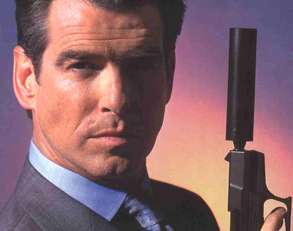 Pierce Brosnan in traditional James Bond pose