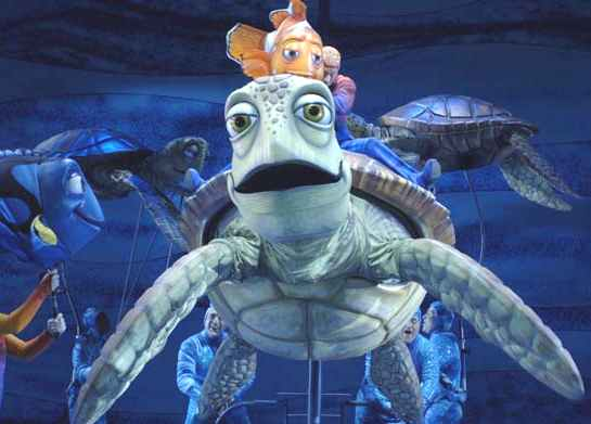 Finding Nemo majorly chilled sea turtle Marlin and Dory stage adaptation of