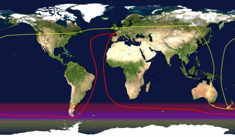 Route of a typical yacht racing circumnavigation shown in red; its antipodes in yellow