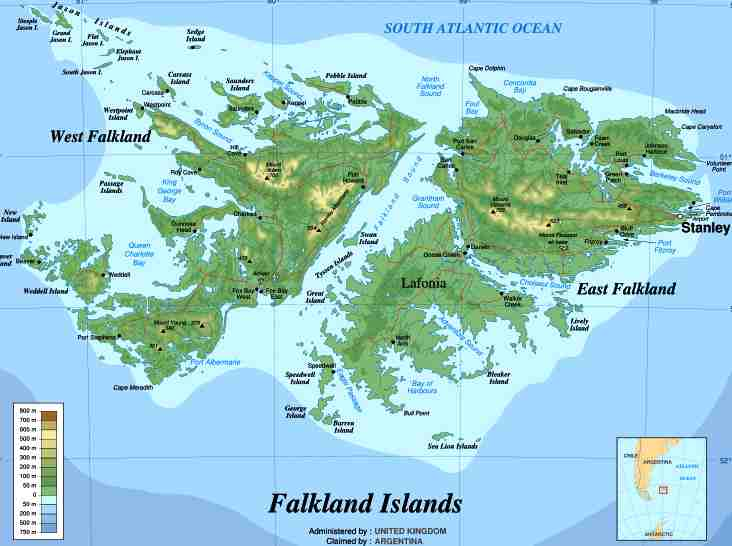 Falkland Islands topographic map