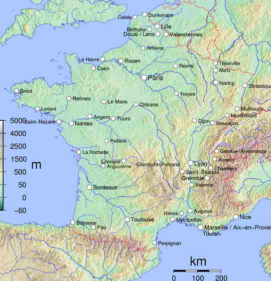 map of france and germany with cities. Map of France