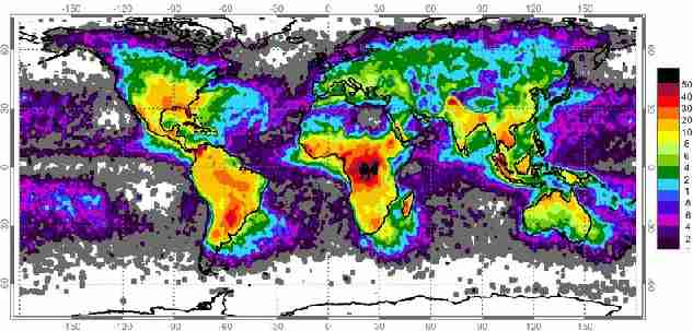 World map showing frequency of lightning strikes, in flashes per km� per year.