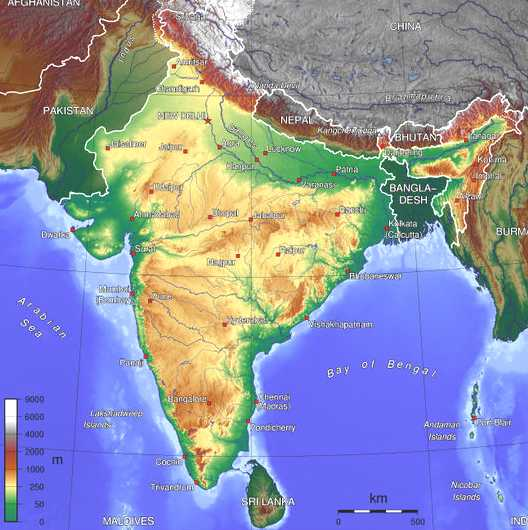 Satellite Map Of India