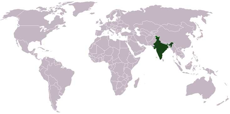 India world location map