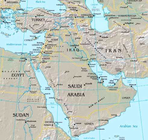 The Middle East. Map showing countries commonly considered