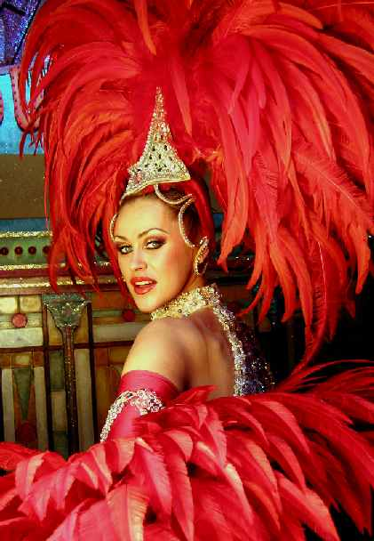 Nicole Kidman Red Dress Moulin Rouge. Dancer in red feather outfit