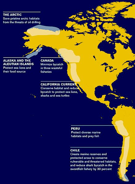 Map of the Pacific Ocean, US and South American west coasts