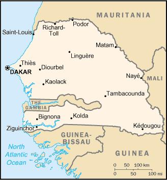 Senegal map dakar