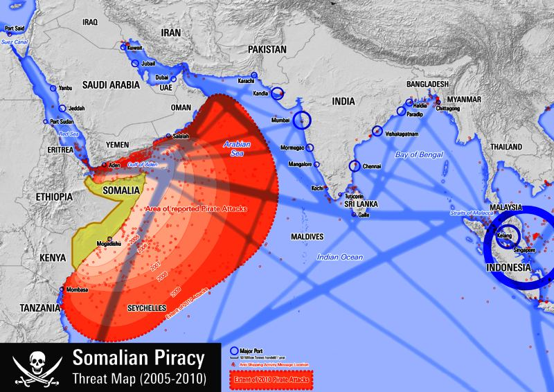 Map of Indian Ocean, Maldives and Seychelles, showing pirate attacks