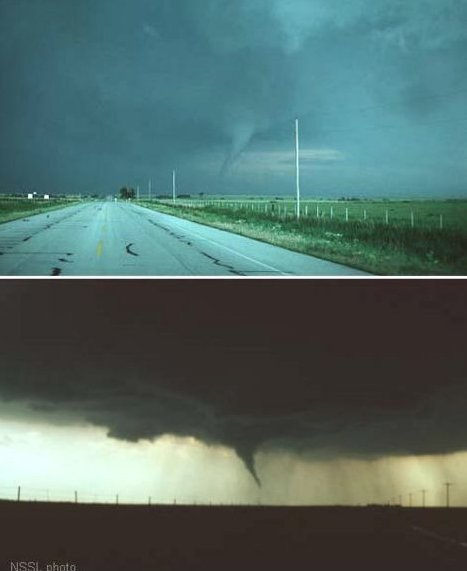 Two photographs of the Waurika, Oklahoma tornado of May 30, 1976