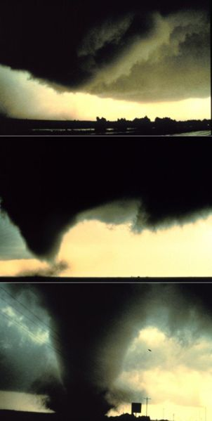Sequence of images showing the birth of a tornado, Dimmit, Texas