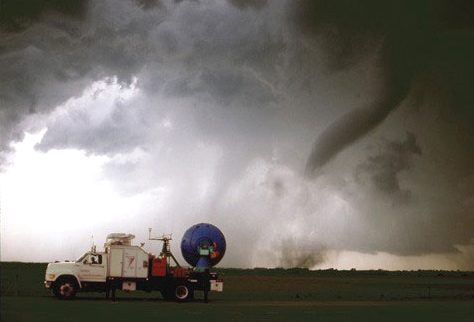 A Doppler On Wheels unit observing a tornado near Attica, Kansas