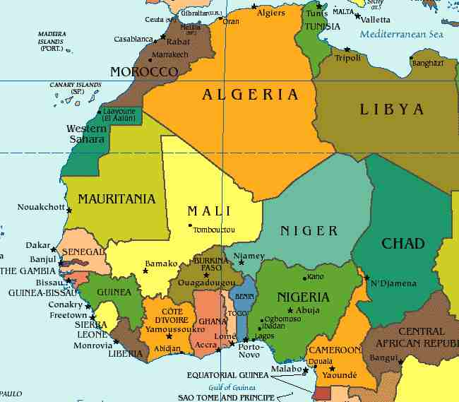 map of iran and neighboring countries. Map of West Africa