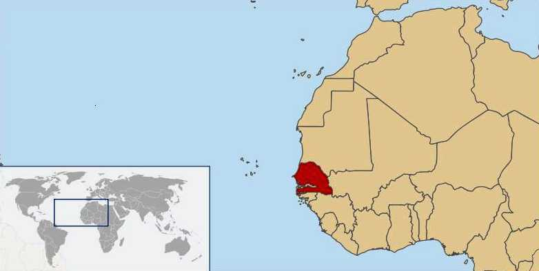 map of senegal africa. World location map Senegal W.